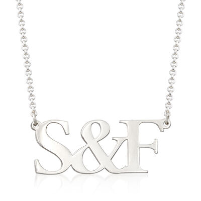 Sterling Silver Personalized Initial and Ampersand Necklace, , default