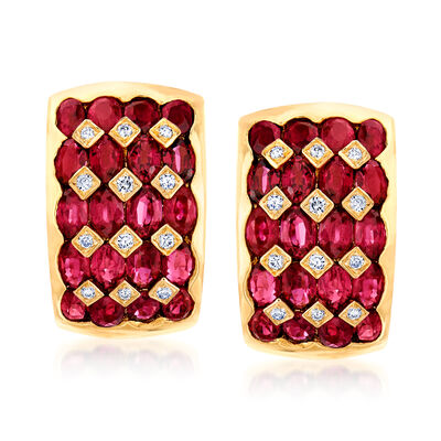 C. 1980 Vintage 8.48 ct. t.w. Ruby and .24 ct. t.w. Diamond J-Hoop Earrings in 18kt Yellow Gold