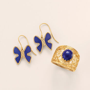Italian Lapis Butterfly Drop Earrings in 14kt Yellow Gold, , default