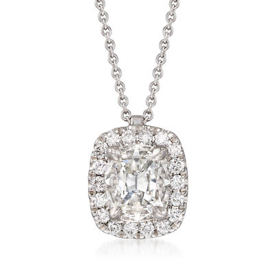Henri Daussi 1.03 ct. t.w. Diamond Halo Necklace in 18kt White Gold, , default