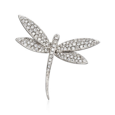 C. 1980 Vintage 1.71 ct. t.w. Diamond Dragonfly Pin in 18kt White Gold