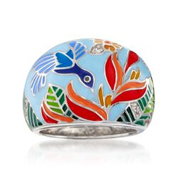 "Belle Etoile ""Hummingbird"" Multicolored Enamel Ring With CZ Accents in Sterling Silver. Size 7, , default"