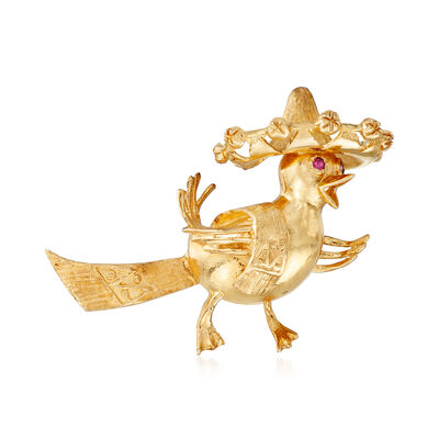 C. 1980 Vintage 14kt Yellow Gold Bird with Sombrero Pin with Ruby Accents , , default