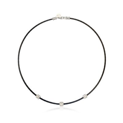 "ALOR ""Noir"" .14 ct. t.w. Diamond Station Black Cable Necklace with 18kt White Gold, , default"