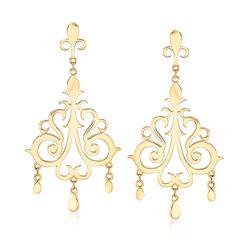 C. 1980 Vintage Tiffany Jewelry 18kt Yellow Gold Clip-On Chandelier Earrings, , default