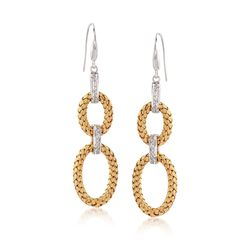 "Charles Garnier ""Fay"" .25 ct. t.w. CZ Double Oval Drop Earrings in Two-Tone Sterling Silver, , default"