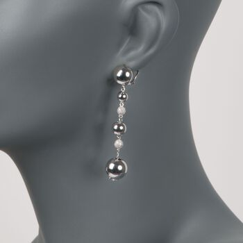 .30 ct. t.w. Pave Diamond Bead Drop Earrings in Sterling Silver, , default