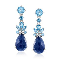 7.50 ct. t.w. Sapphire and 2.10 ct. t.w. Blue Topaz Drop Earrings in Sterling Silver, , default