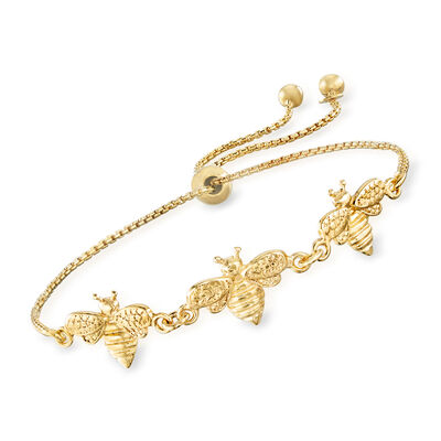 Italian 18kt Gold Over Sterling Bee Bolo Bracelet