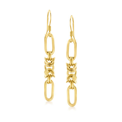 Italian 18kt Gold Over Sterling Paper Clip and Byzantine Link Drop Earrings