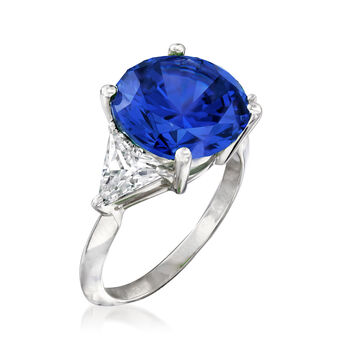 6.25 Carat Simulated Sapphire and 1.50 ct. t.w. CZ Ring in Sterling Silver, , default