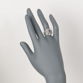 1.00 Carat Morganite and .20 ct. t.w. Diamond Ring in Sterling Silver, , default