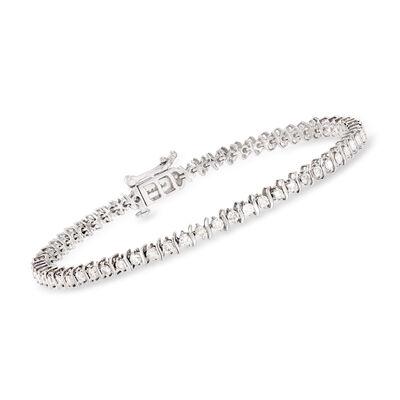 2.00 ct. t.w. Diamond S-Link Tennis Bracelet in 14kt White Gold, , default