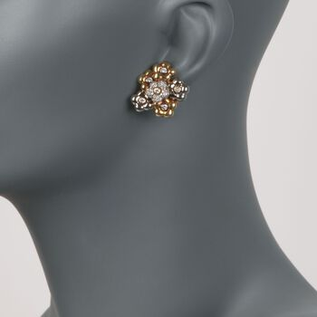 C. 1980 Vintage 1.10 ct. t.w. Diamond Floral Clip-On Earrings in 18kt Two-Tone Gold , , default