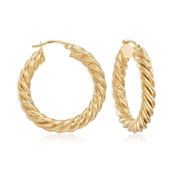 "18kt Gold Over Sterling Spiral Hoop Earrings. 1 3/8"", , default"