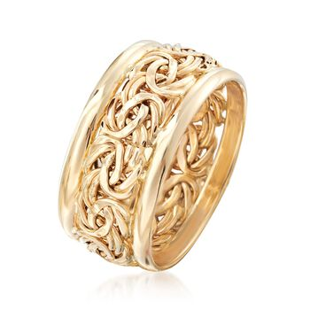 14kt Yellow Gold Bordered Byzantine Ring, , default