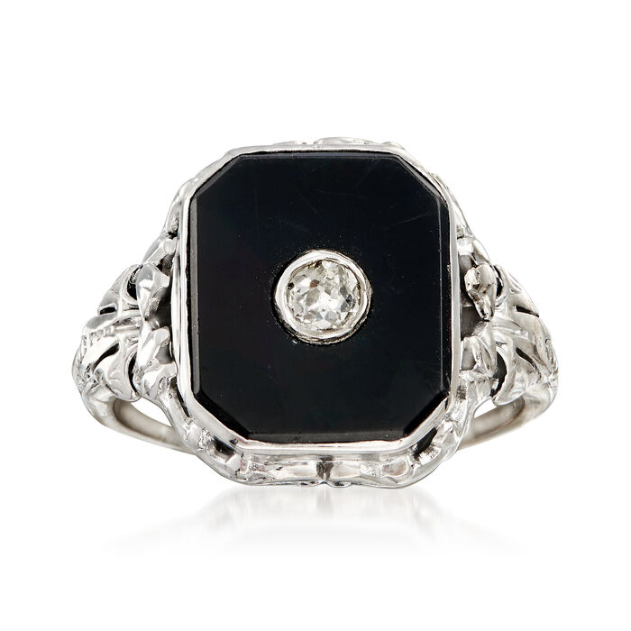C. 1930 Vintage Black Onyx and .10 ct. t.w. Diamond Ring in 14kt Gold and Platinum. Size 6, , default
