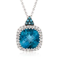 "4.00 Carat London Blue Topaz Necklace With Blue and White Diamonds in 14kt White Gold. 18"", , default"
