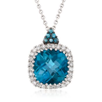 """4.00 Carat London Blue Topaz Necklace With Blue and White Diamonds in 14kt White Gold. 18"""", , default"""