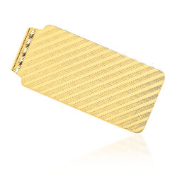 14kt Yellow Gold Polished Textured Money Clip, , default