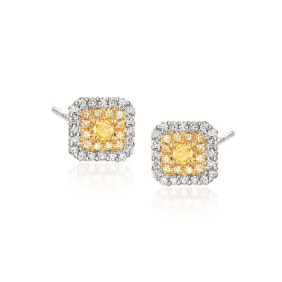 1.06 ct. t.w. Yellow and White Diamond Earrings in 18kt Two-Tone Gold, , default