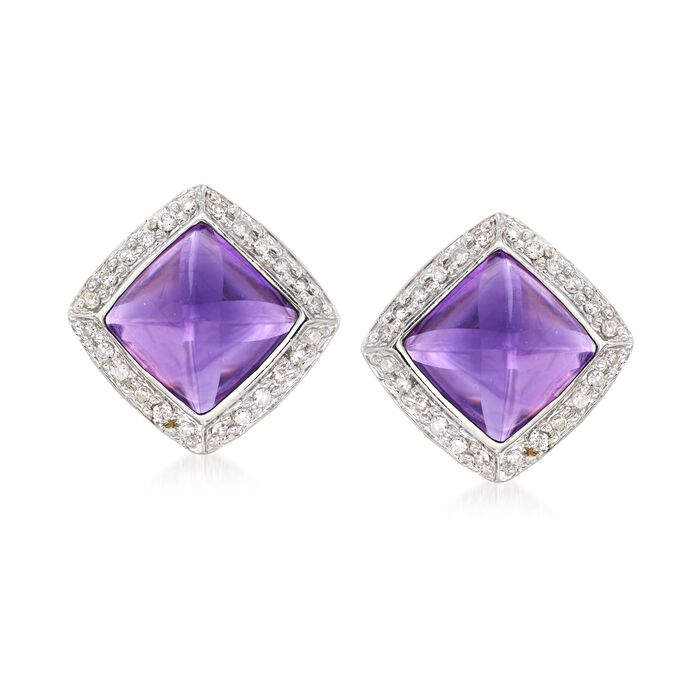 C. 2000 Vintage 5.00 ct. t.w. Amethyst and .25 ct. t.w. Diamond Earrings in 14kt White Gold, , default