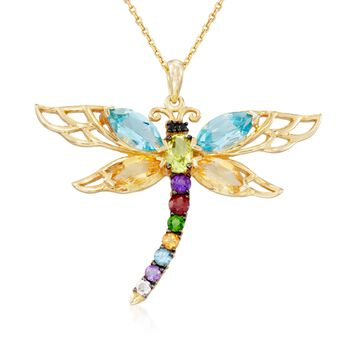 """4.04 ct. t.w. Multi-Stone Dragonfly Pendant Necklace in 14kt Gold Over Sterling. 18"""", , default"""