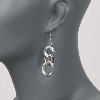 Stainless Steel Curb Link Drop Earrings, , default