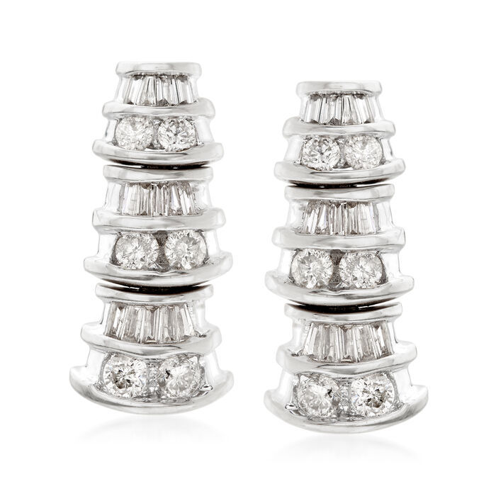 .87 ct. t.w. Baguette and Princess Diamond Graduating Drop Earrings in 14kt White Gold, , default