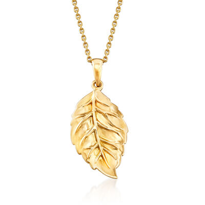 14kt Yellow Gold Leaf Pendant Necklace, , default
