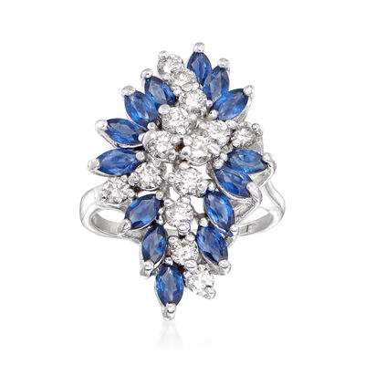 C. 1970 Vintage 2.10 ct. t.w. Sapphire and 1.00 ct. t.w. Diamond Cluster Ring in 14kt White Gold