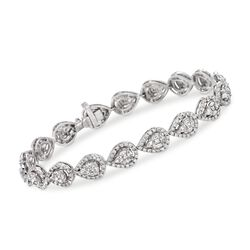 "5.10 ct. t.w. Diamond Pear-Shaped Link Bracelet in 18kt White Gold. 7"", , default"