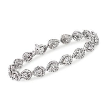 "5.10 ct. t.w. Diamond Pear-Shaped Link Bracelet in 18kt White Gold. 7"", , default"