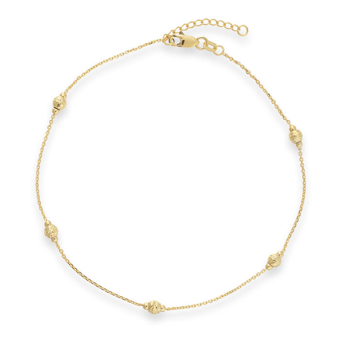 14kt Yellow Gold Diamond Cut Beads Anklet