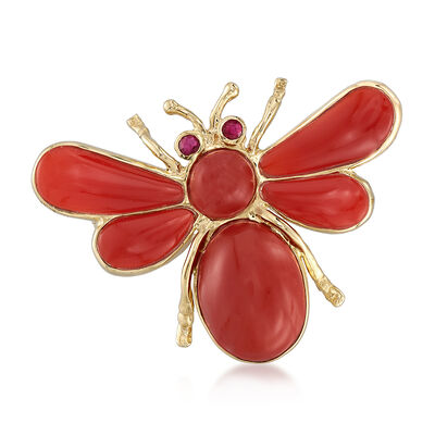 Red Agate Bug Pin with Ruby Accents in 14kt Yellow Gold, , default