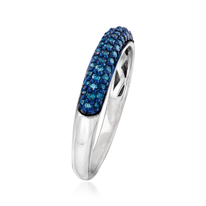 .25 ct. t.w. Pave Blue Diamond Ring in Sterling Silver