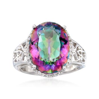 9.00 Carat Multicolored Quartz and .30 ct. t.w. White Topaz Ring in Sterling Silver, , default