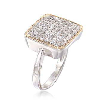 1.00 ct. t.w. CZ Square-Top Ring in Sterling Silver and 14kt Gold