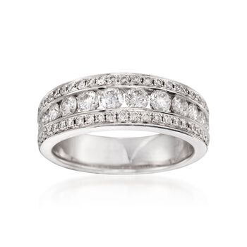 1.05 ct. t.w. Diamond Three-Row Ring in 14kt White Gold, , default