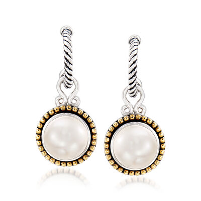 10mm Cultured Pearl J-Hoop Drop Earrings in Sterling Silver and 18kt Yellow Gold, , default