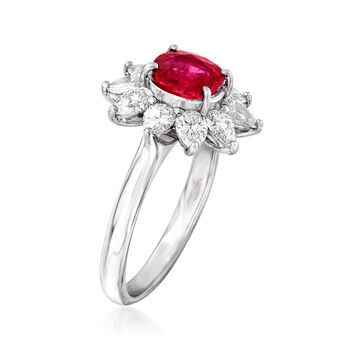 C. 2010 Vintage 1.16 Carat Certified Ruby and 1.07 ct. t.w. Diamond Flower Ring in Platinum. Size 6
