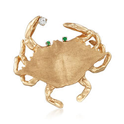 C. 1990 Vintage 14kt Yellow Gold Crab Pin Pendant With Emerald and Diamonds, , default
