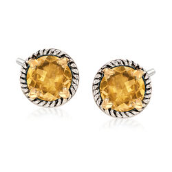 6.75 ct. t.w. Citrine Rope Frame Earrings With Hearts in Two-Tone Sterling Silver, , default