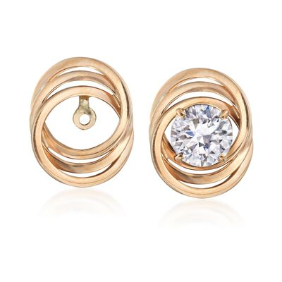 14kt Yellow Gold Three-Ring Earring Jackets, , default