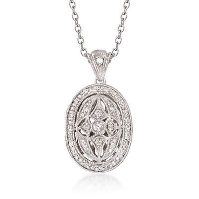 .25 ct. t.w. Diamond Fancy Oval Locket Necklace in Sterling Silver