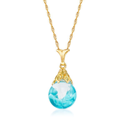 Floating Turquoise Pendant Necklace in 14kt Yellow Gold