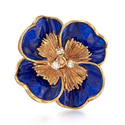 C. 1970 Vintage Tiffany Jewelry Blue Enamel Flower Pin in 18kt Yellow Gold, , default