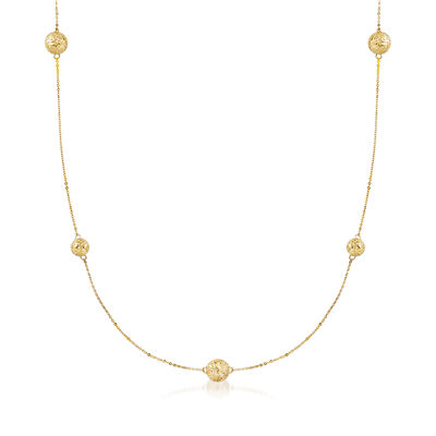 Italian 14kt Yellow Gold Embroidered Bead Station Necklace, , default
