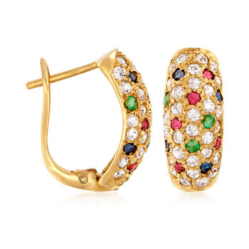 C. 1990 Vintage 1.80 ct. t.w. CZ and .73 ct. t.w. Multi-Gem Earrings in 14kt Yellow Gold