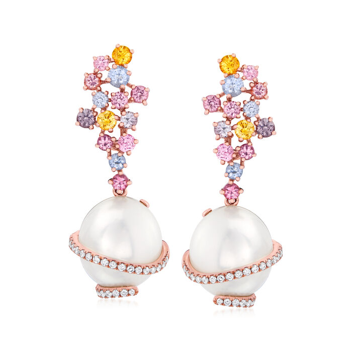 13.5x12.5mm Cultured South Sea Pearl, 2.10 ct. t.w. Multicolored Sapphire and .33 ct. t.w. Diamond Drop Earrings in 18kt Rose Gold, , default